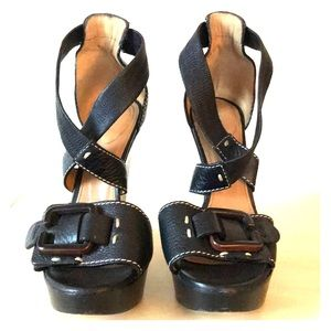 Chloé Wedge Platform Heels Black with Buckles